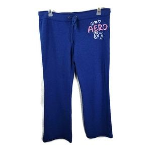 Aero Sweatpants XL Blue Womens Stretch Pants D56